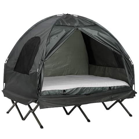 Outsunny 2 Person Compact Pop Up Portable Folding Outdoor Elevated Camping Cot Tent Combo Set with Simple Setup & Carry Bag