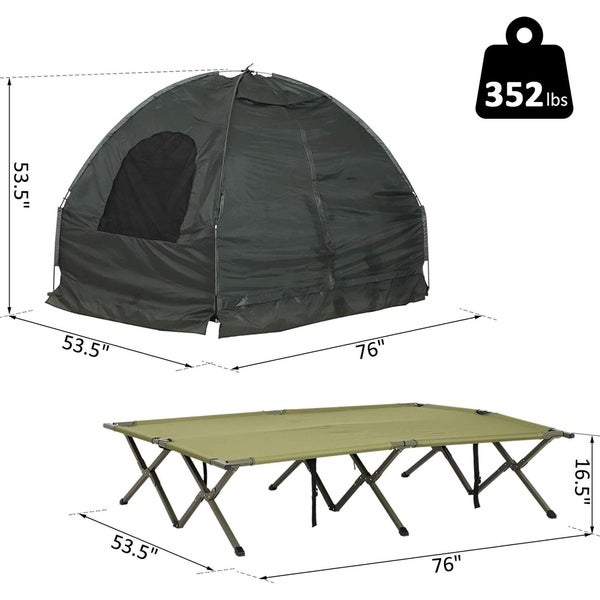 Outsunny 2-person Portable Elevated Camping Cot Tent Combo Set