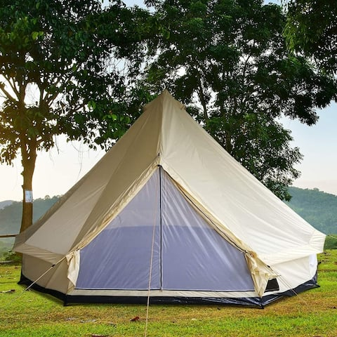 Outsunny 16 10-Person Waterproof Camping Tent Yurt with Unique Style, Spacious Interior, & Breathable Waterproof Design