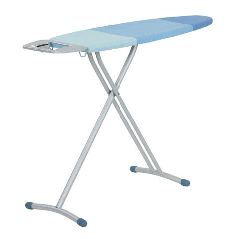 "Household Essentials Ironing Board Steel Top, Tri Leg Blue, Foam pad w/Extra Cover, 45"" L x 13"" W x 35.4"" H, Silver"