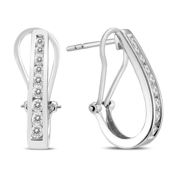 0903ac6d6 Shop 1/2 Carat TW Channel-Set Diamond Omega Back Hoop Earrings in White Gold  (H-I Color, SI1-SI2 Clarity) - On Sale - Free Shipping Today - Overstock -  ...