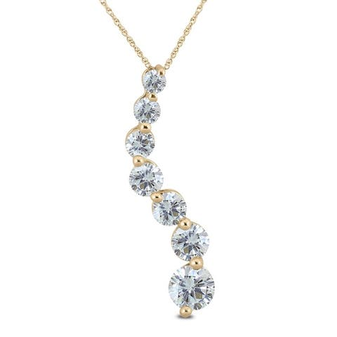 1 Carat TW Diamond Journey Pendant in 14K Yellow Gold