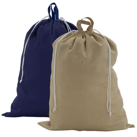 Double Handle Laundry Bag with Draw Cord & Lock, 2-Piece Navy & Angora