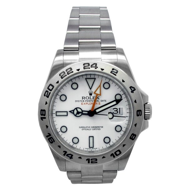 Pre-owned 42mm Rolex Stainless Steel Oyster Perpetual Explorer II Watch with Dial