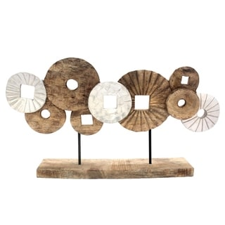 Aged Mango Wood Abstract Circles Sculpture On Rectangular Base, Brown and White