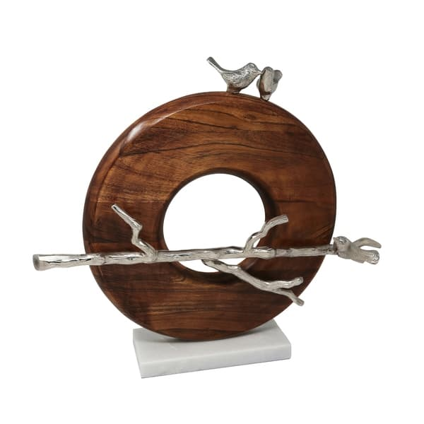 Wood And Aluminium Sculpture Featuring Birds Sliver And Brown On Sale Overstock 27568603