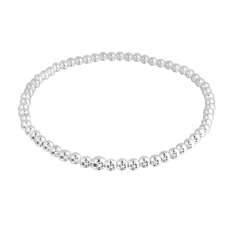 Handmade Simple Round 3mm Beads Sterling Silver Stretch Bracelet (Thailand)