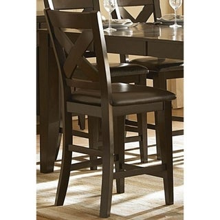 Contemporary Style Wooden Counter Height Chair with X Back Design, Set of 2, Brown