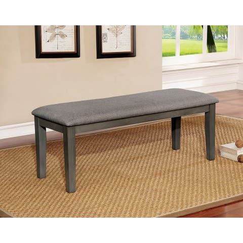 Transitional Style Solid Wood Bench with Faux Leather Upholstery and Tapered Legs , Gray