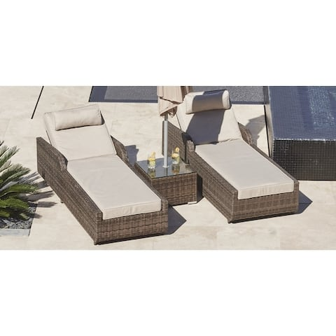Stillwater 3-piece Outdoor Chaise Lounge Set Patio Chairs and Large Side Table by Havenside Home