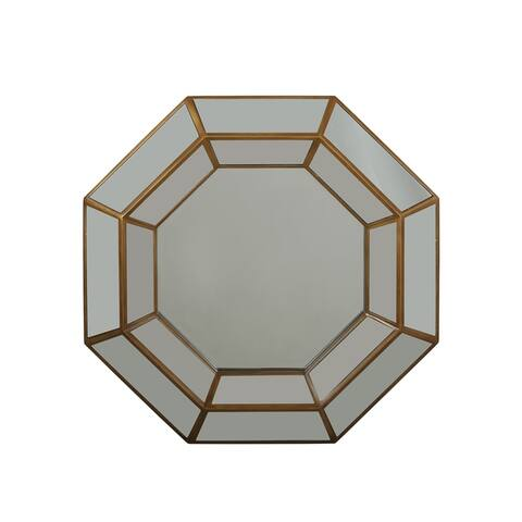 Christopher Knight Home Crider Tempered Glass and Faux Wood Raised Octagon Modern Mirror with Accents