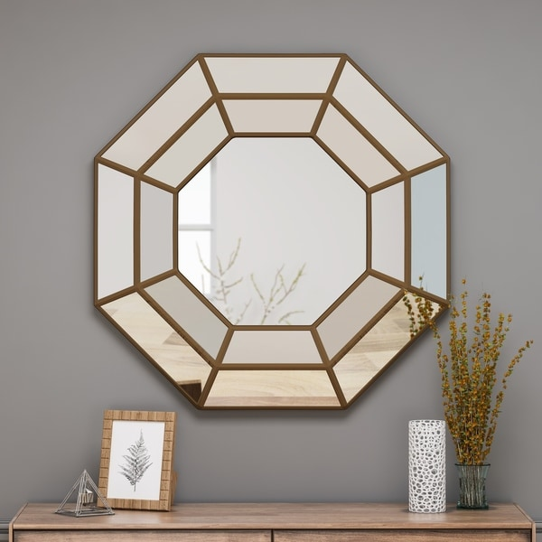 Crider Modern Raised Octagon Mirror with Accents by Christopher Knight Home