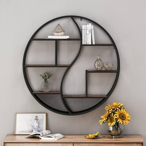 "Buckthorn Industrial Circular Firwood Hanging Wall Shelf by Christopher Knight Home - 34.25"" H x 34.25"" W x 6.50"" D"