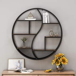 Christopher Knight Home Buckthorn Industrial Wood and Iron Hanging Circular Wall Shelf