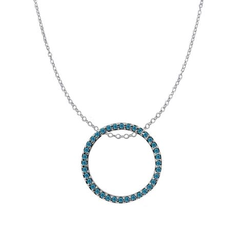 """Sterling Silver with Genuine Choice of Diamond Circle Pendant with 18"""" chain"""