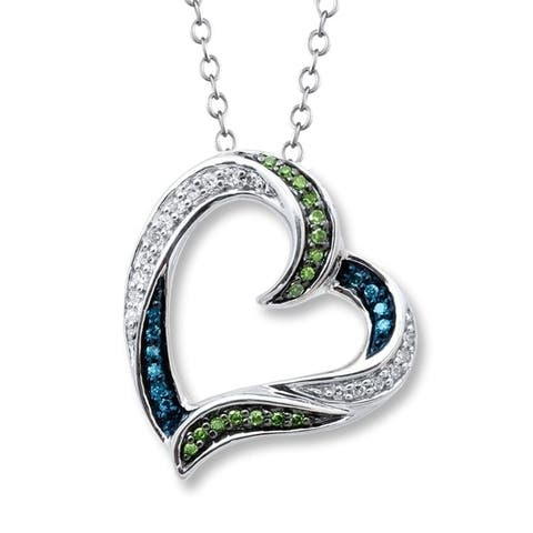 Sterling Silver with Genuine Green, Blue Diamond and White Topaz Heart Pendant with 18 Inch chain.