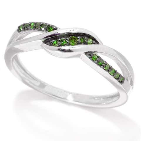 Sterling Silver with 0.12 CTTW Genuine Green Diamond Crossover Ring
