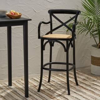 """Link to Stahl 44"""" Wooden Barstool with Wicker Seating by Christopher Knight Home Similar Items in Dining Room & Bar Furniture"""