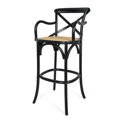 """Stahl 44"""" Wooden Barstool with Wicker Seating by Christopher Knight Home"""