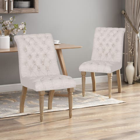 Fieldmaple Tufted Fabric Dining Chair (Set of 2) by Christopher Knight Home