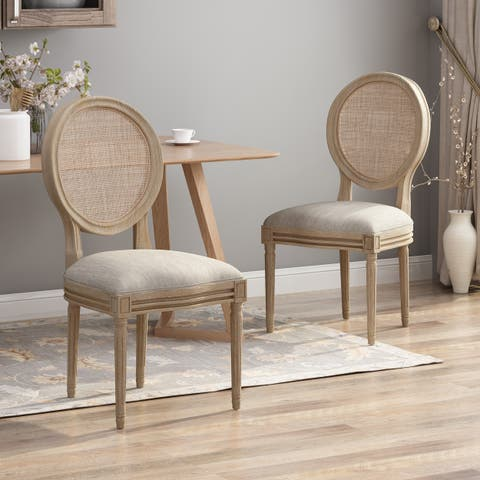 Epworth Wooden Dining Chair with Wicker and Fabric Seating (Set of 2) by Christopher Knight Home