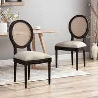 Govan Wooden Dining Chairs with Beige Cushions (Set of 2) by Christopher Knight Home