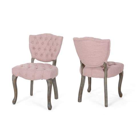 Crosswind Tufted Dining Chair with Cabriole Legs (Set of 2) by Christopher Knight Home