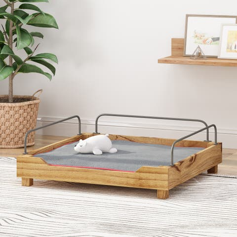 Christopher Knight Home Cockadoodle Wooden Small Pet Bed with Metal Railing and Plush Cushion