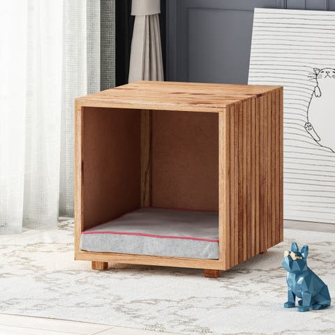 Cocklebur Wooden Small Pet Bed with Plush Cushion by Christopher Knight Home
