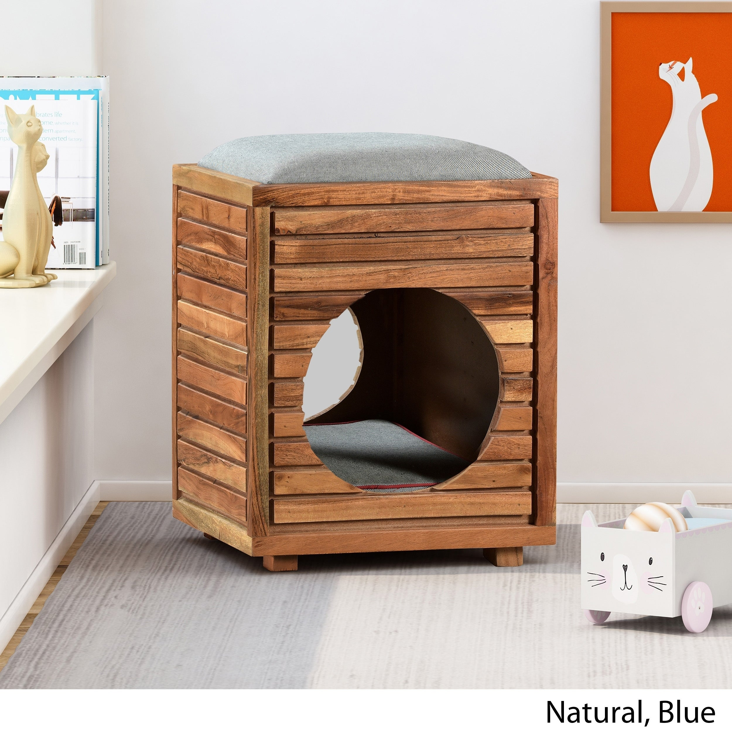 Fantastic Canebake Wooden Ottoman Small Pet Bed With Plush Cushion By Christopher Knight Home Lamtechconsult Wood Chair Design Ideas Lamtechconsultcom