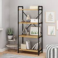 Christopher Knight Home Greenwood Industrial Black Iron Brown Wood 4-shelf Bookcase