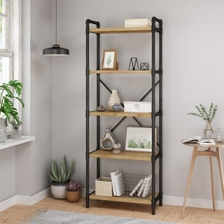 """Driscoe Industrial 5 Shelf Firwood Bookcase by Christopher Knight Home - 24.00"""" W x 12.00"""" D x 71.00"""" H"""