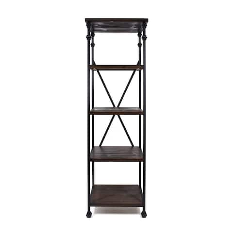 Christopher Knight Home Hampden Industrial Iron/Wood Four-shelf Bookcase