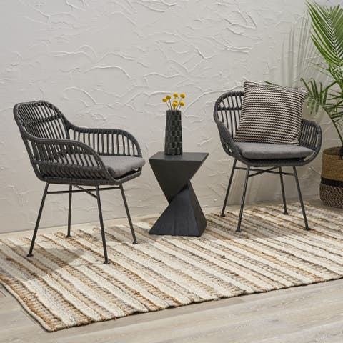 Orlando Indoor Woven Faux Rattan Chairs with Cushions (Set of 2) by Christopher Knight Home