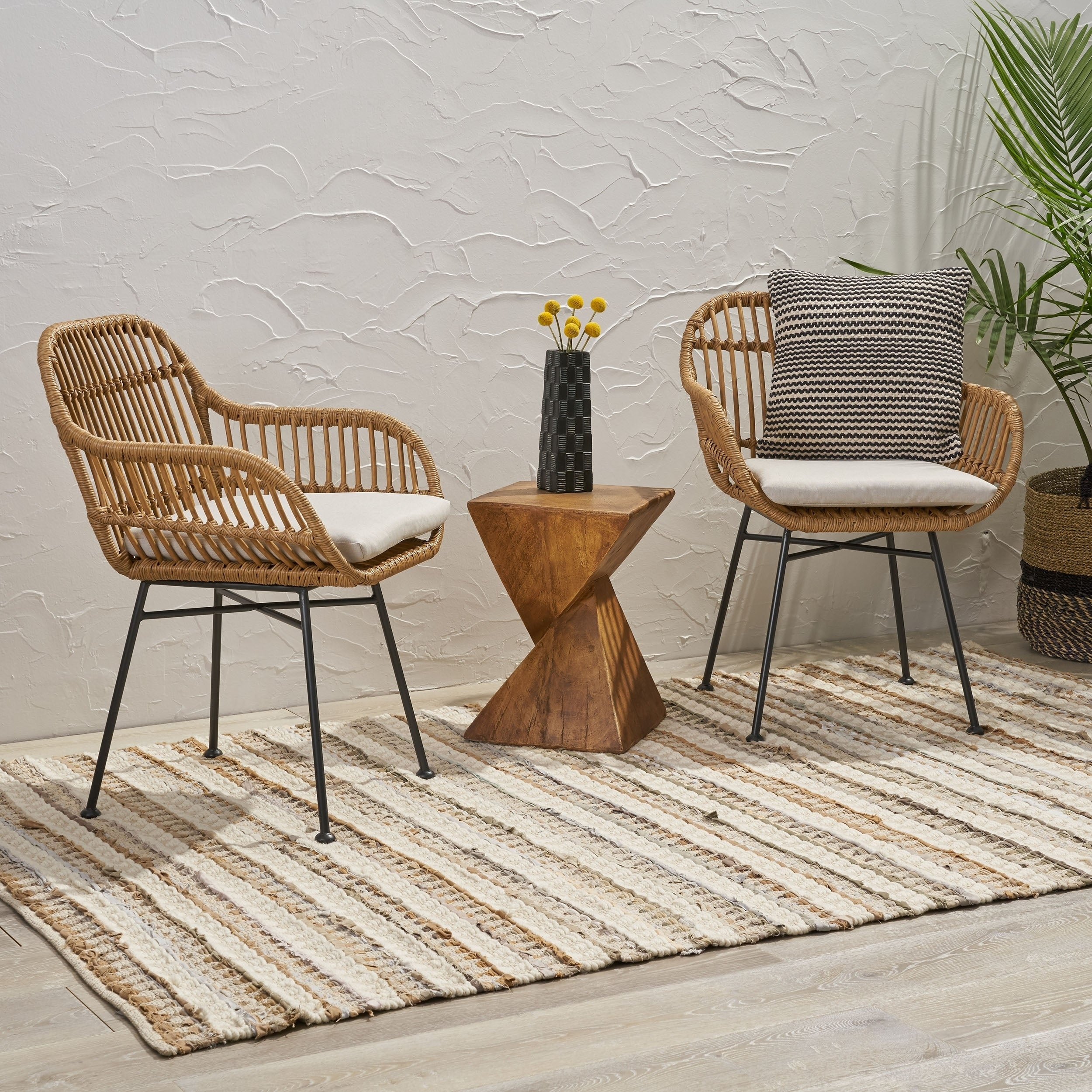 Picture of: Orlando Indoor Woven Faux Rattan Chairs With Cushions Set Of 2 By Christopher Knight Home Overstock 27569189