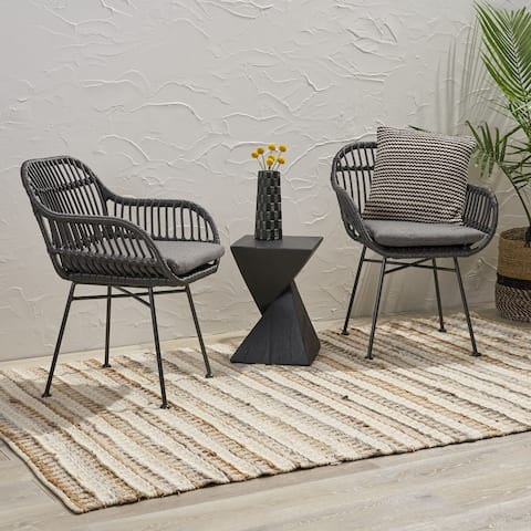 Christopher Knight Home Orlando Woven Faux Rattan Cushioned Indoor Chairs (Set of 2)