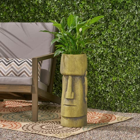 Christopher Knight Home Glacier Antique Green Cast Stone Outdoor Easter Island Tiki Urn