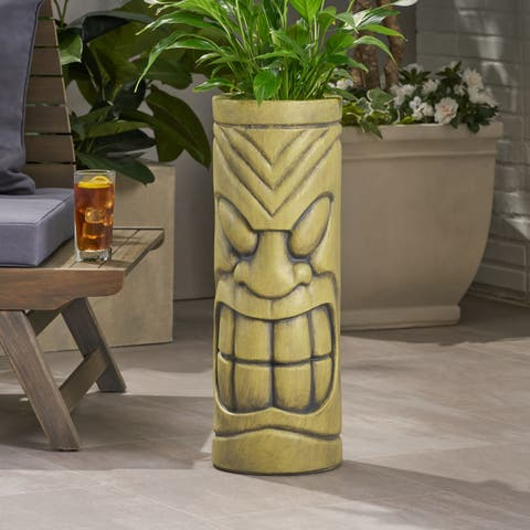 Christopher Knight Home Saguard Antique Green Cast Stone Outdoor Polynesian Urn