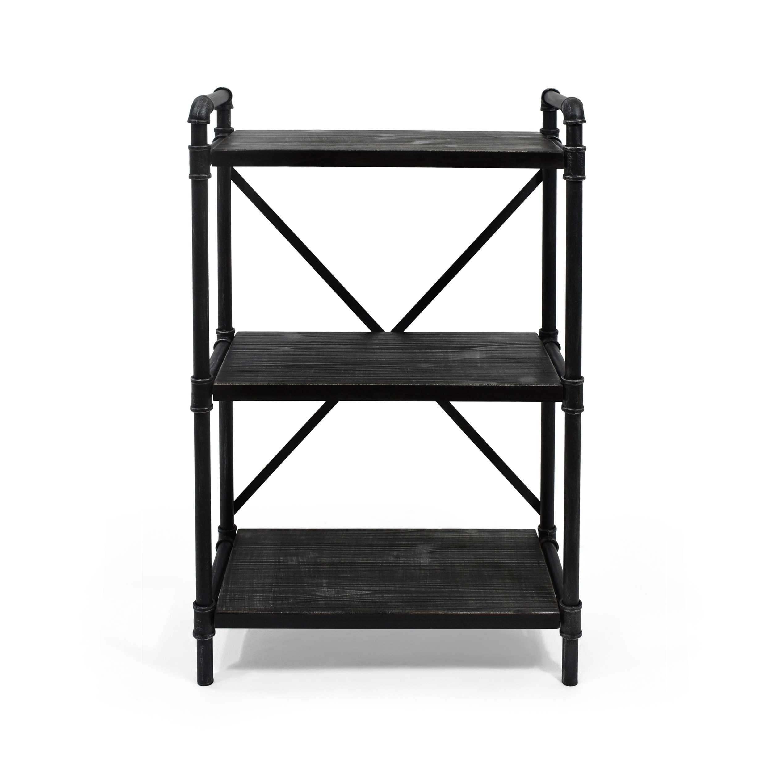 Christopher Knight Home Honeysuckle Wood And Iron Industrial 3 Shelf Bookcase