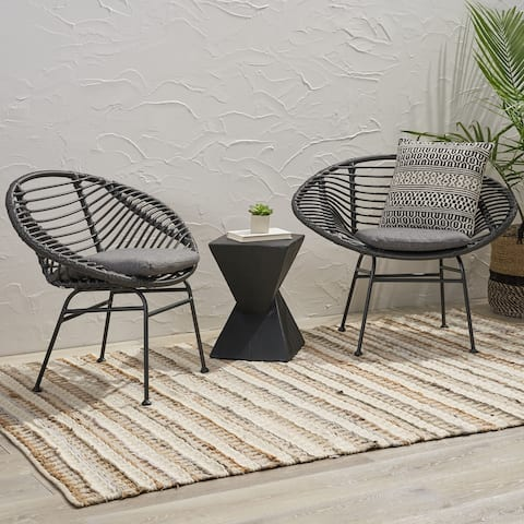 Christopher Knight Home San Antonio Indoor Woven Faux Rattan Chairs with Cushions (Set of 2)