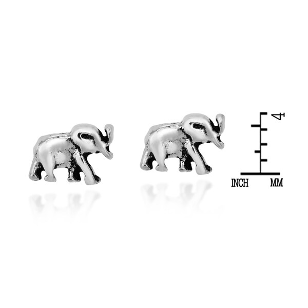 Handmade A Pair of Majestic Sterling Silver Elephant Stud Nose Ring (Thailand)