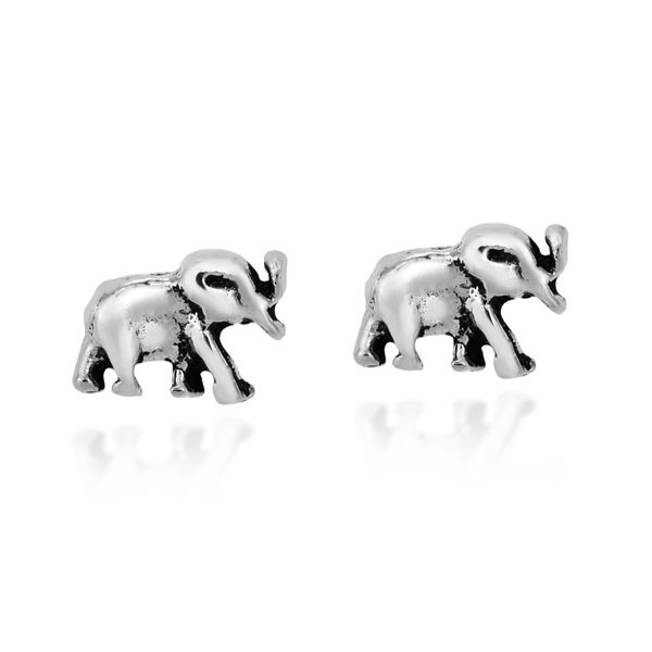 Handmade A Pair of Majestic Sterling Silver Elephant Stud Nose Ring (Thailand). Opens flyout.