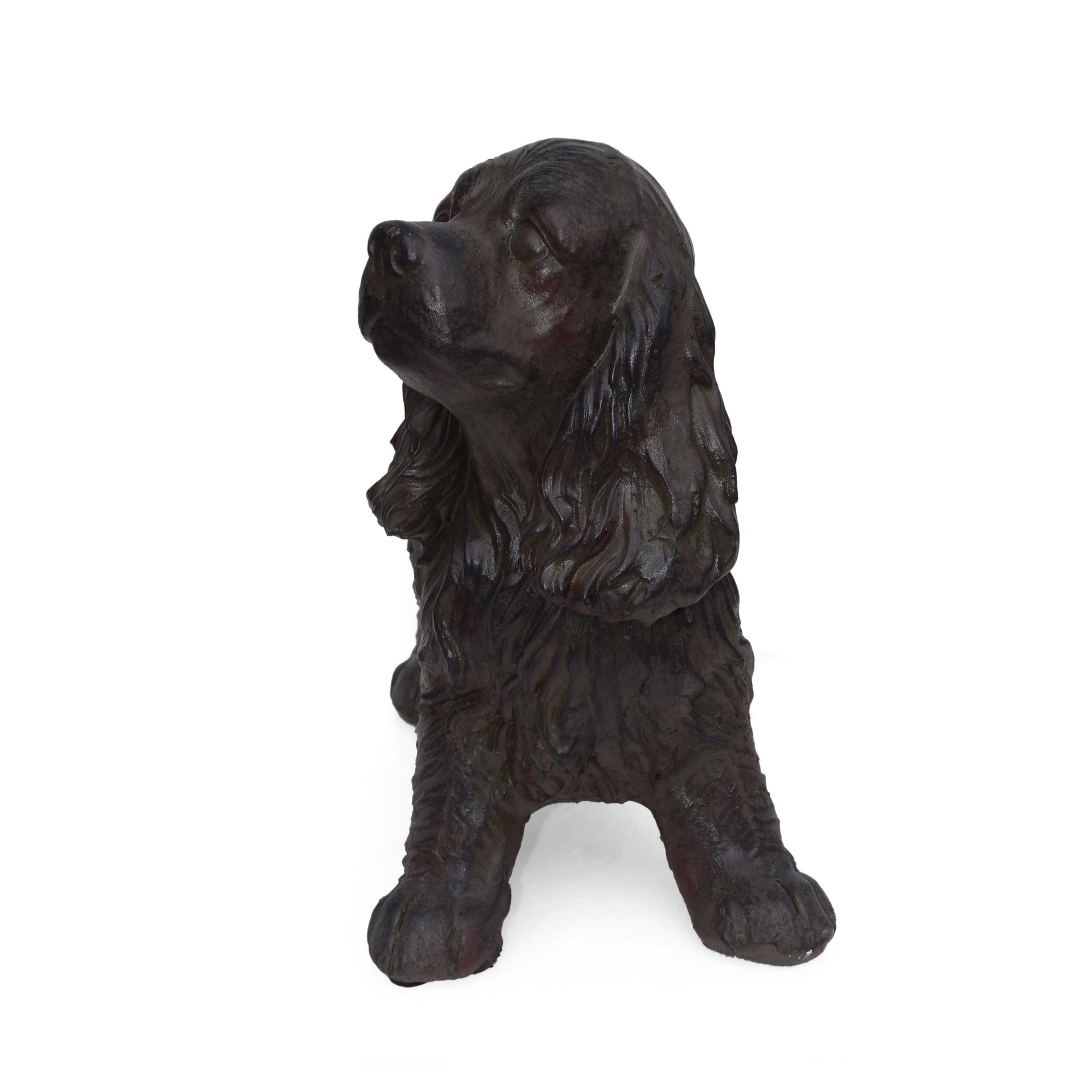 Christopher Knight Home Josie Brown Stone Outdoor Cocker Spaniel Dog Garden Statue Overstock 27569199