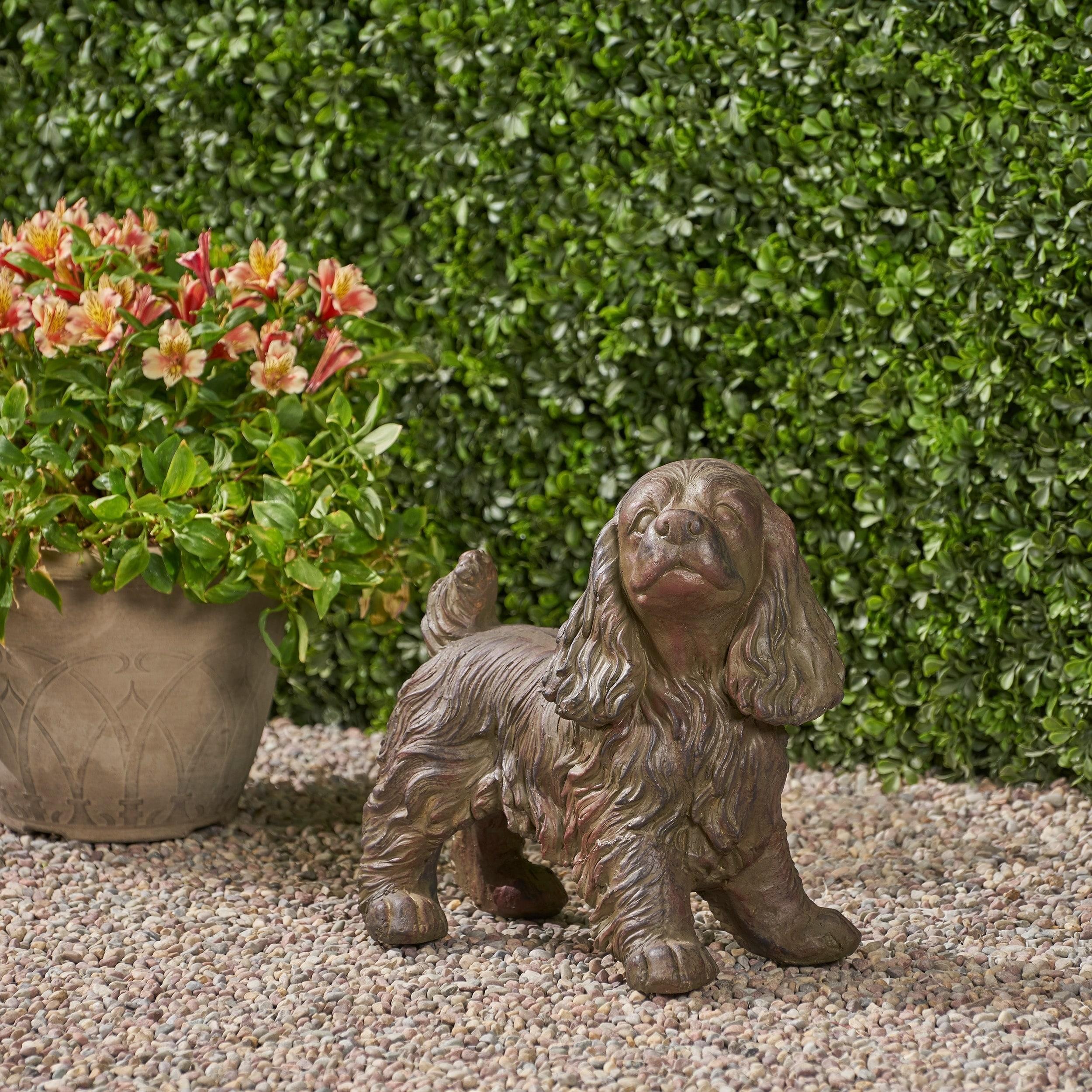 Christopher Knight Home Josie Brown Stone Outdoor Cocker Spaniel Dog Garden Statue On Sale Overstock 27569199