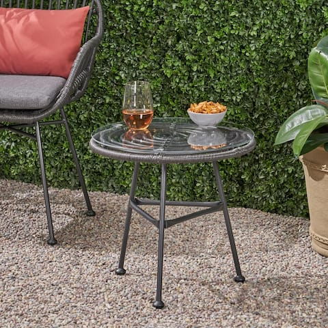 Orlando Outdoor Woven Faux Rattan Side Table with Glass Top by Christopher Knight Home