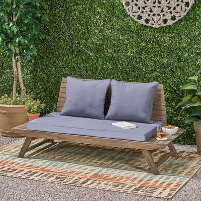 Sedona Outdoor Cushioned Wooden Loveseat by Christopher Knight Home