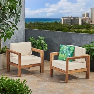 Link to Genser Outdoor Wooden Club Chairs with Cushions (Set of 2) by Christopher Knight Home Similar Items in Outdoor Sofas, Chairs & Sectionals