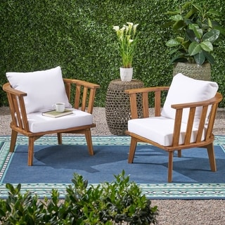 Sedona Outdoor Wooden Club Chairs with Cushions (Set of 2) by Christopher Knight Home