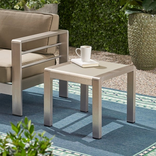 Christopher Knight Home Cape Coral Aluminum and Glass Outdoor Side Table. Opens flyout.
