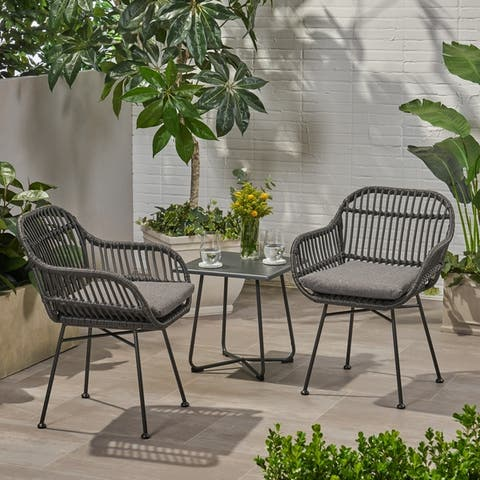 Orlando Outdoor Woven Faux Rattan Chairs with Cushions (Set of 2) by Christopher Knight Home
